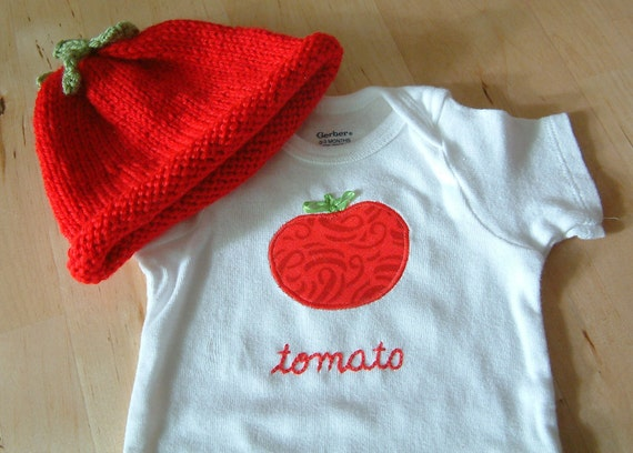 TOMATO Hat and Onesie / Bodysuit Gift Set - Baby Girl or Boy, Short Sleeve, Two Piece  - Available in 3 months