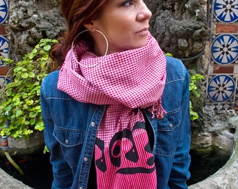"""PEACE in Khmer--Red Hand Woven Long Cotton Cambodian Style Scarf--Krama--65cmx190cm--silk screen--26"""" x 75""""--"""