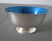 Vintage Blue Enamel Silver Plated Paul Revere Bowl by Reed and Barton