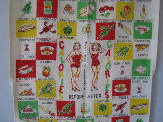 Fabulous 1950's  Pin Up Girl Dieting Dish Towel