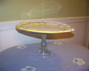 Yellow Butterfly Cake Plate