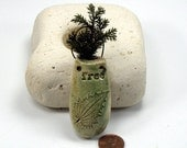 FREE Pouch Pot, Tiny Dried Plant Holder, Ceramic Pouch Pot,  Flower Holder - Green Brown