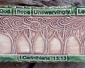 Starry Night Trees - Green Blue - Faith, Hope, Love - Pottery Plaque