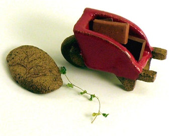 wheelbarrow with bricks,   ceramic    sculpture,    miniature garden accent,  A load of Bricks...    Red     Terra Cotta