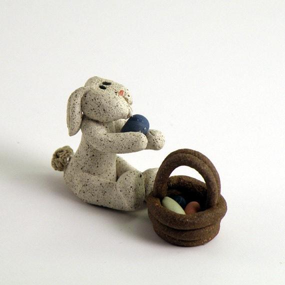 Bunny with Basket, ceramic handmade original for miniature garden or tiny treasure
