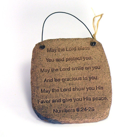 Blessing Plaque, Stoneware Home Decor, Timeless Words from Scripture, Wall Plaque
