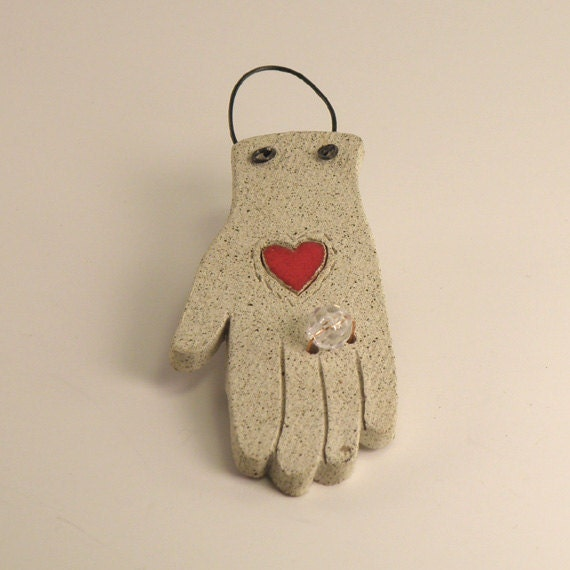 Engaged.    Ceramic hand ornament with bling,   Bridal Gift,  Red Heart,