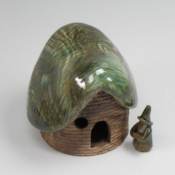 Gnome Home 3 - Hobbit House - Gnome - Tiny Pottery Sculptures for Miniature Gardens, Fairy Garden, Terrarium, or Dollhouse
