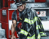 Fine art Firefighter/Fireman notecards, 4 per pack with envelopes,  blank inside, greeting cards