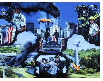 911 art, firefighter art, We Will Never Forget, lithograph prints