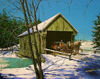 Covered bridge, art notecards, horse pulling sled, 4 Pack  with Envelopes