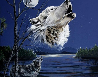 Wolf howling full moon blue night sky gray wolf water front reproduction by Artist Cathy Cooksey