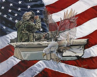 Note cards, Americana art, Fine Art Prints, United States Marines, Patriotic Art