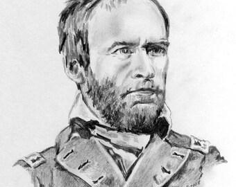Civil War Fine Art- General William Sherman- Original Drawing by Artist Cathy Cooksey