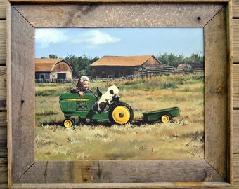 Tractor art, John deere paintings, tractor ride on toy, country art