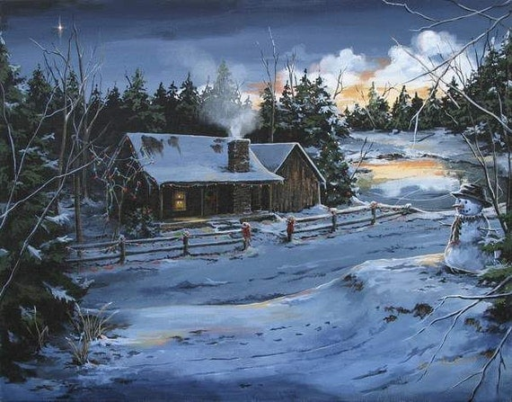 Items Similar To Rustic Cabin Winter Scenes Archival