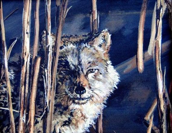 Endangered Red Wolf Original Acrylic Painting Hidden In The Dark Wildlife Art