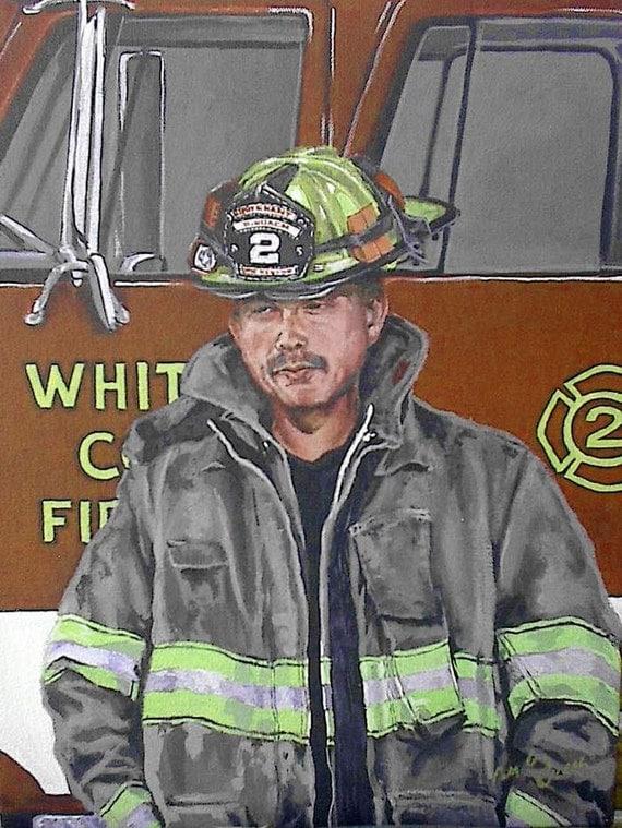 Custom Portraits, Fireman portraits, Made to Order Fireman Portraits, custom paintings