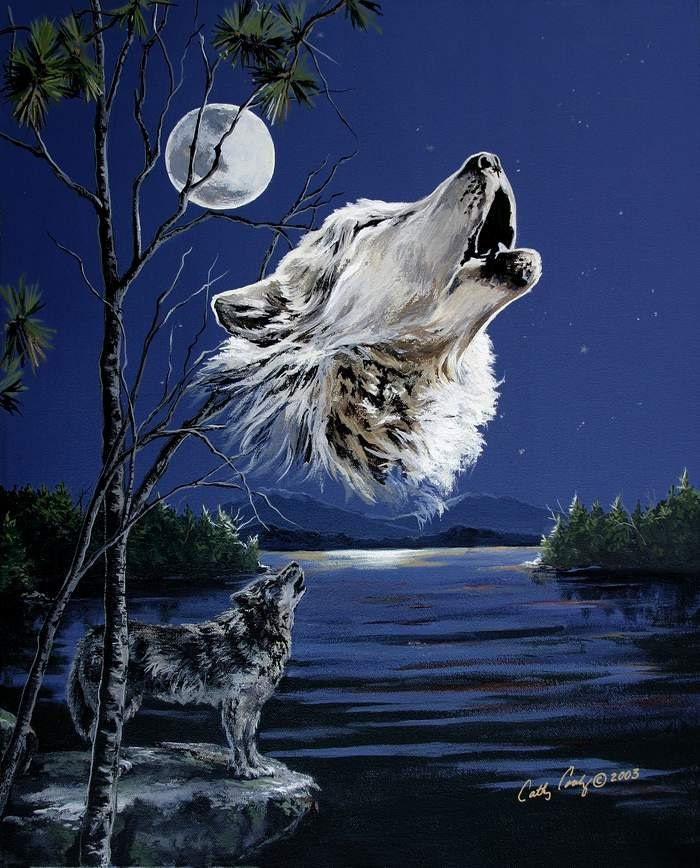 Arctic Wolf Howling At The Moon