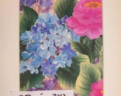 Card blue hydrangeas pink roses