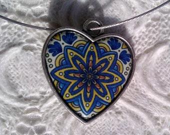 Blue Mosaic Heart Necklace