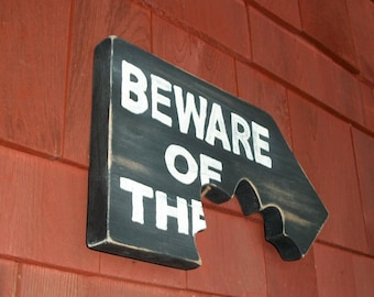 Beware Dog Sign Plaque Distressed Wood Chomp Teeth Bitemark Pet Gift Handcrafted Made to Order