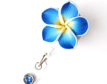 Ocean Blue Plumeria - Retractable Badge Reel - Flower Badge Holders - Designer ID Reel - Nurse Gifts - Pretty Name Badge Clips - BadgeBlooms