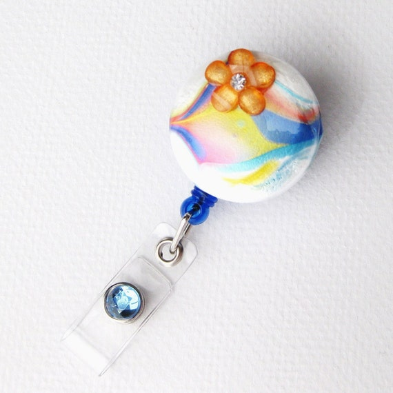 Rainbow Swirl - Designer Retractable Badge Holders - Hand Painted - Unique Name Badge Reels - Stylish ID Badge Clip - BadgeBlooms