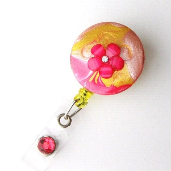 Pink Lemonade - Unique Badge Reels - Designer ID Holders - Trendy Hand Painted Badge Reel - Retractable ID Clips - Nurse Gift - BadgeBlooms