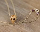 14k Gold Fill Necklace w Carved Bone Skull