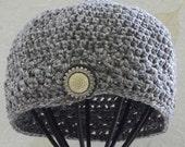 Womens Beanie Hat,  Handmade Beanie Hat,  Crochet Hat,  Cotton Beanie,  Spring Gray Hat,  OOAK, Unique