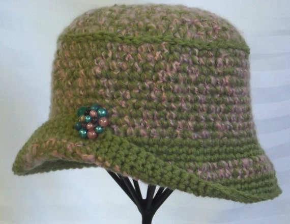 Womans Handmade  Hat,   Crochet Cloche,   Vintage Style Hat,  Pink Green Wool Acrylic Fiber,   Upcycled Vintage Earring Accent,  Winter Hat