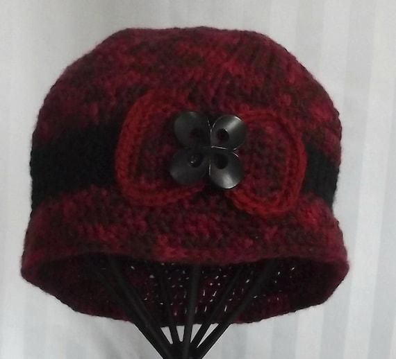 Womans Crochet Hat,  Handmade  Beanie,  Vintage Style Hat,  Red Acrylic Fiber,  Vintage Button Accent, OOAK,  Winter Hat