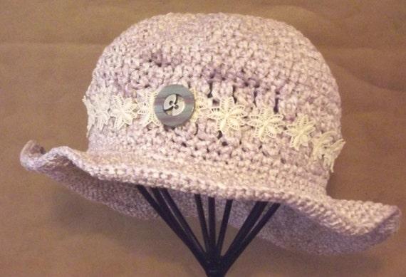 Crochet Womans Hat,    Handmade,   Sun Hat,    Shabby Chic,   Cotton,    Lavender Purple,    Floral Trim Accent,  OOAK,