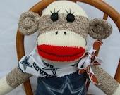 Dallas Cowboy Football Classic Brown Red Heel Sock Monkey Doll