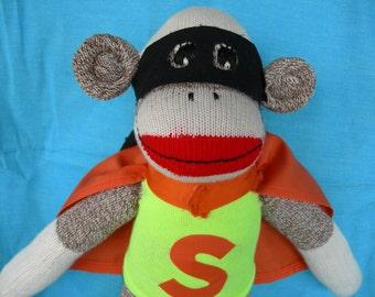Super Hero Sock Monkey/Classic Red Heel Sock Monkey Doll Dressed As Super Hero/Design Your Own