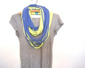 periwinkle shredded jersey circle scarf. upcycled t-shirt.