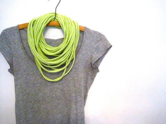 unisex jersey eco scarf. neon yellow green.