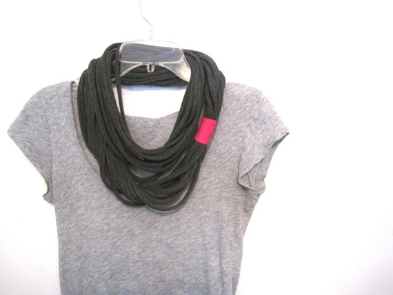 shredded jersey circle scarf. layered rope cowl. upcycled. charcoal grey with bright pink.