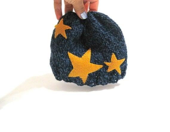 star starry night baby hat. beanie, tam, denim blue tweed with mustard yellow constellation stars