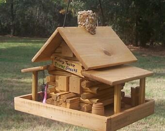 Log Cabin Bait Store Bird Feeder