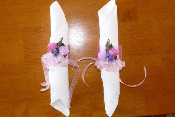 Pink and Purple Silk Rose Wedding Napkin Rings-Reserved for Jenny (custom order)