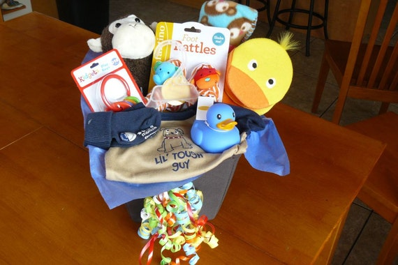SPECIAL SALE 1/2 off, Cute Baby Boy Gift Basket