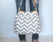 Handbag purse Chevron zig zag Large gathered hobo purse with O rings and key fob