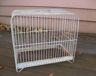 Price Reduced - Antique Pale Blue-Green Metal Bird Cage - Home Decor, Organization, Display