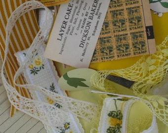 Sunshine Vintage Inspiration Kit With A Tin - Papers, Lace, Ribbons & Trims - 55 Pieces