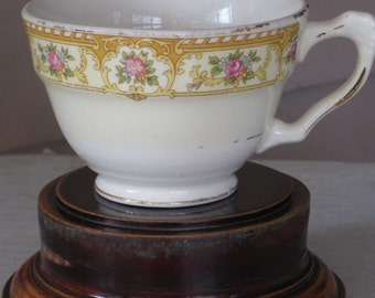 Charming Antique Yellow, Gold & Pink Bordered China Tea Cup