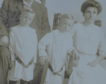 Antique Photo of Edwardian Family With Darling Twin Boys