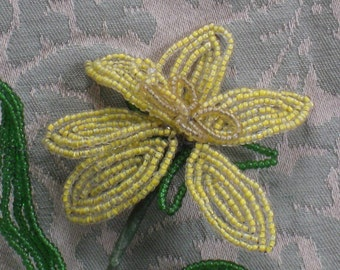 Vintage Czech Beaded Flower - Yellow With Butterfly Stamen and Green Leaves