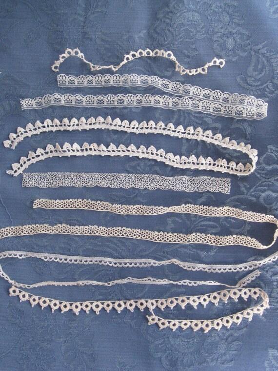 Collection of Seven Antique Vintage Narrow Lace Trims